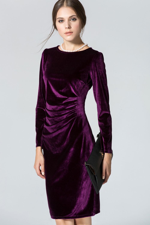 Womens Long Sleeved Round Neck Slim Velvet Pleated Winter Dress Purple Unomatch Shop