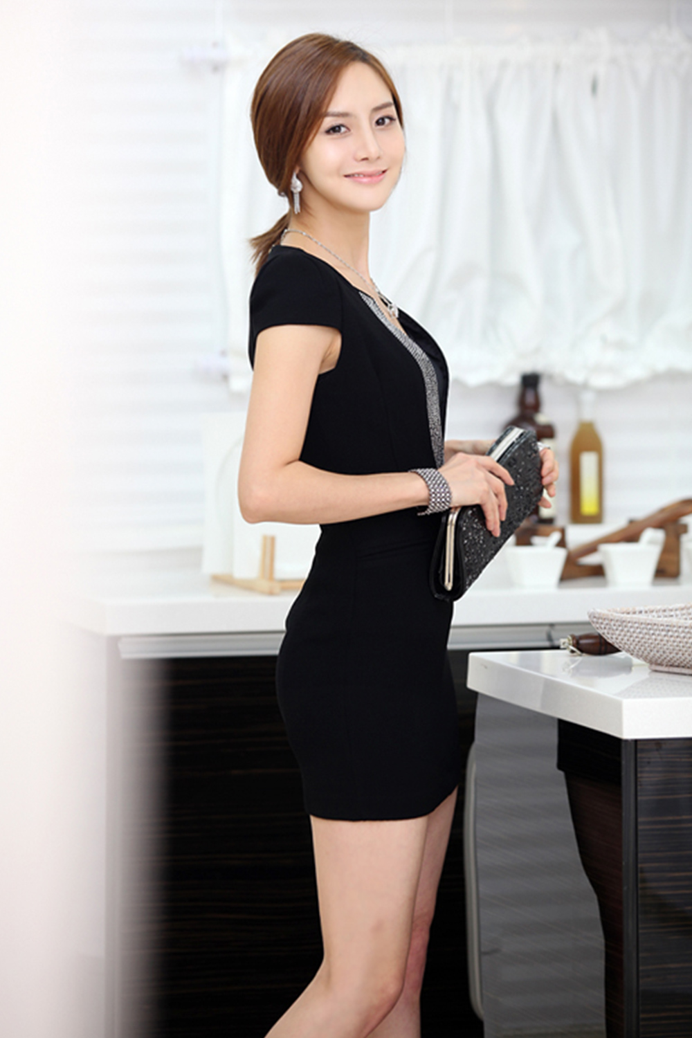 Unomatch Women Sexy Short Body Fit Big V Neck Bodycon Dress Black Unomatch Shop Conceptual fat overweight obese female dress outfit vs slim fit healthy body after weight loss or diet thin young woman isolated. unomatch women sexy short body fit big v neck bodycon dress black